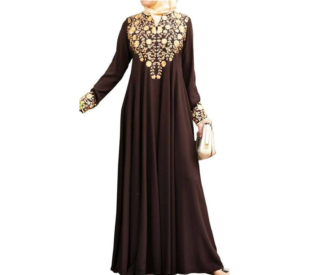 Floral Embroidery Coffee Color Abaya